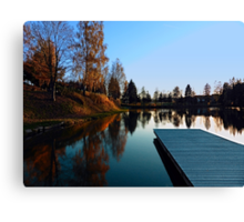 Romantic evening at the lake VI | waterscape photography Canvas Print
