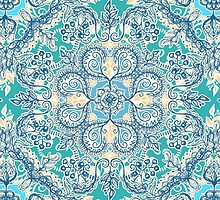 Gypsy Floral in Teal & Blue by micklyn
