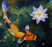 Showa Koi and Water Lily by Michael Creese