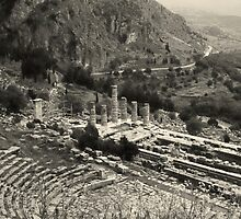 Temple of Apollo and Theatre, Delphi 1960, Yellow-toned by Priscilla Turner