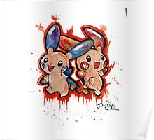Cute Plusle and Minun Tshirts + More Poster