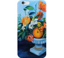 floral arrangement in blue and orange iPhone Case/Skin