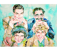 THE MARX BROTHERS watercolor portrait Photographic Print