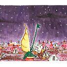 Crocodile Chimney Christmas Card by dotmund