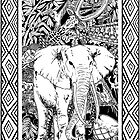 White Elephant Indian Ink Tribal Art by BluedarkArt