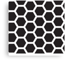 Black and white honeycomb background Canvas Print