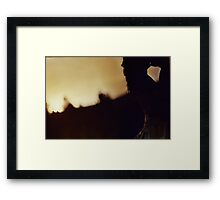 Bride and groom kiss silhouette color c41 film handmade ra4 print fine art analog wedding photo Framed Print