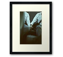 Gay wedding grooms hold hands in car c41 film fine art analog lgbt marriage photo Framed Print