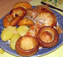 Roast Chicken Dinner with Yorkshire Puddings by MidnightMelody