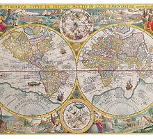 Antique Map of the World & Heavens2 by Solfie