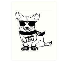 Hipster Corgi - Cute Dog Cartoon Character - Corgis Rule Art Print