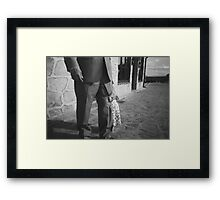 Portrait of girl hiding black and white film silver gelatin fine art analog wedding photo child portraiture Framed Print