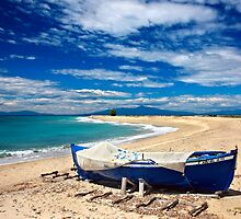 Blue boat at Poseidi by Hercules Milas