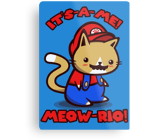 It's-a-me! Meow-rio! (Text ver.) Metal Print