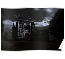 Spooky Night on Dunrobin Castle Black and White (Golspie, Sutherland, Scotland) Poster
