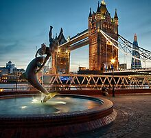 Tower Bridge and The Girl & The Dolphin by edwhyphoto