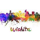 Wichita skyline in watercolor by paulrommer
