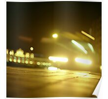 Bus in street at night square Hasselblad medium format  c41 color film analogue photograph Poster