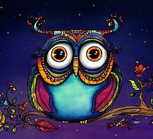 Colorful Night Owl in Tree Watercolor Painting by corsographics