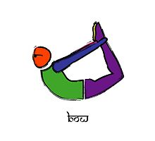 Painting of bow yoga pose with Sanskrit text. by Mindful-Designs