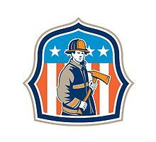 American Fireman Firefighter Fire Axe Shield by patrimonio