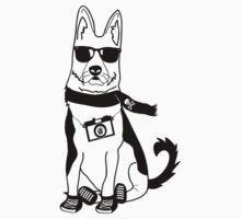 Hipster German Shepherd / Alsatian - Cute Dog Cartoon Character by designedbyn