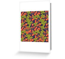 mysterious night in space garden with cherry tomatoes and basil Greeting Card