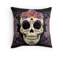 Vintage Skull and Roses Throw Pillow
