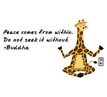 Giraffe Zenimal with Buddha Quote Photographic Print