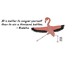 Flamingo Zenimal with Buddha Quote Photographic Print
