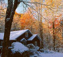CABIN ELKMONT,AUTUMN SNOW by Chuck Wickham