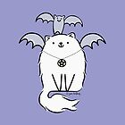 Fluffy White Witch's Cat with Bat by zoel