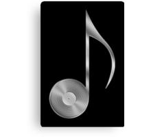 Vinyl Record Musical Eighth Note - Metallic - Steel Canvas Print