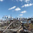Abandoned Ferry Slips, Lower Manhattan Skyline, Liberty State Park, New Jersey by lenspiro
