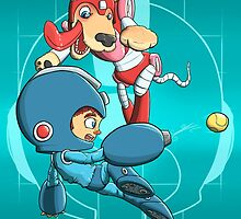 Mega Man and Rush by augustolp