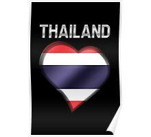 Thailand - Thai Flag Heart & Text - Metallic Poster