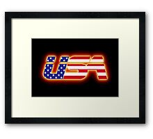 USA - Flag Logo - Glowing Framed Print
