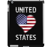 United States - American Flag Heart & Text - Metallic iPad Case/Skin