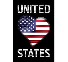 United States - American Flag Heart & Text - Metallic Photographic Print