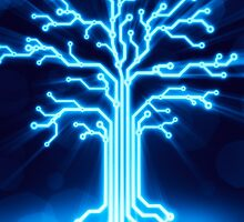 Glowing digital tree circuits concept art photo print by ArtNudePhotos