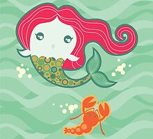 Lil' Red Mermaid and Lobster by prettycritters