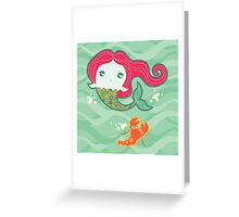 Lil' Red Mermaid and Lobster Greeting Card