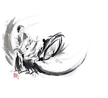 Aikido ink painting, japanese warriors  Photographic Print