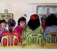 Cartoon - At the Dental Clinic by Mariaan M Krog Fine Art Portfolio