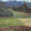 Sheep in a field in the Devon countryside by martyee