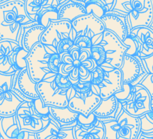 Pale Blue Pencil Pattern - hand drawn lace mandala Sticker