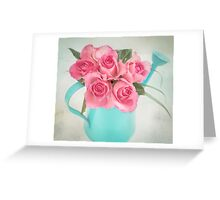 Five beautiful Pink Roses in a teal watering can Greeting Card