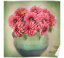 Beautiful Pink Dahlia's in a Green Vase Poster