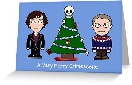 Sherlock Christmas card: Merry Crimescene by redscharlach
