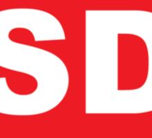 South Dakota SD Euro Oval RED Sticker